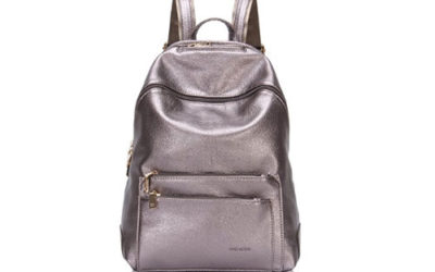 Silver Backpack by Hynes Victory Faux Leather Campus Style