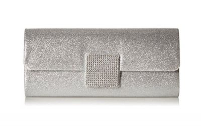 Silver Clutch Evening Bag by Jubileens Dazzling Bling Rhinestone