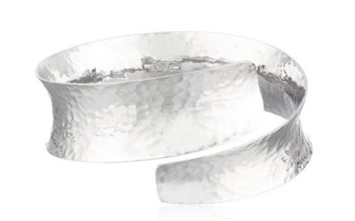 Silver Cuff Bracelet Sterling Hammered Bypass Cuff