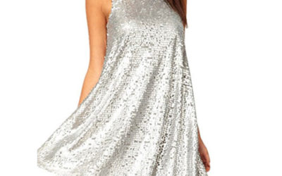 Silver Dress – Sleeveless Sequined Mini Babydoll