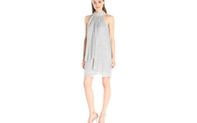 Silver Dress by London Times Women's Sleeveless Ruched Stand-Collar Dress