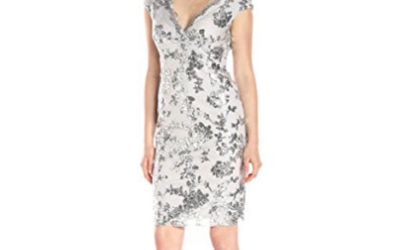 Silver Dress by Marina Women's Cocktail In Sequin Floral Lace