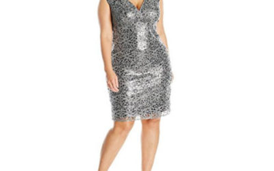 Silver Dress by Marina Women's Plus-Size V Neck Sequin Lace Cocktail Dress