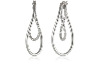 Silver Earrings – Sterling Double Twist Diamond Cut and Polished Oval Hoops