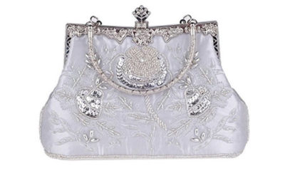 Silver Evening Bag by Bettyhome Elegant Retro Ginny Beaded with Rose Embroidery