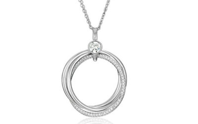 Silver Necklace Sterling 27mm Triple Ring Cubic Zirconia Pendant Enhancers