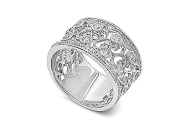 Silver Ring Pave Filigree Cubic Zirconia Ring Sterling