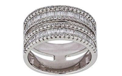 Silver Ring by Mia Sarine 18K White Gold & Sterling Silver Baguette and Round Cubic Zirconia Double Band