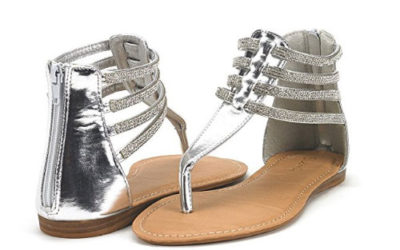 Silver Sandals by Dream Pairs Rockstar Glamorous Gladiator Flats