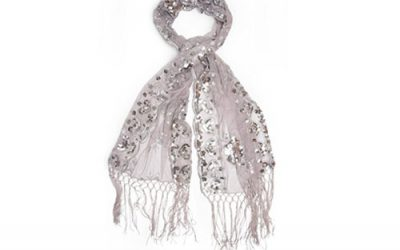 Silver Scarf Bohomonde Madison Fringe and Sequins