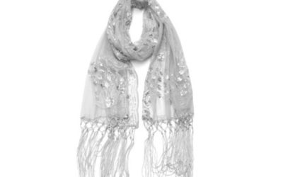 Silver Scarf Sheer Peacock & Heart Sequin Fringed