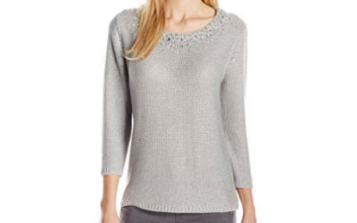 Silver Sweater by Ruby Rd. Women's Embellished Scoop-Neck Metallic Pullover