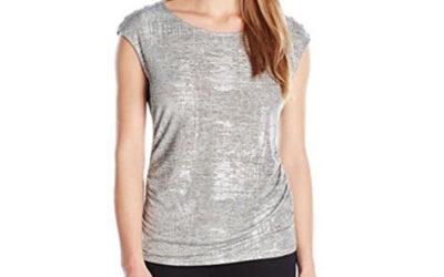 Silver Top Calvin Klein Women's Top With Shoulder Buttons