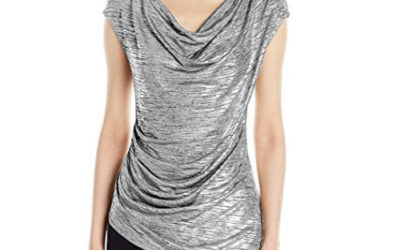 Silver Top by Calvin Klein Women's Sleeveless with Angle Bottom