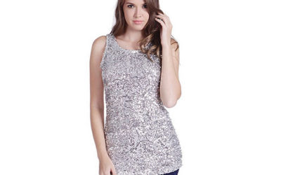 Silver Top by HDE Women's Shiny Sequin Embellished Sparkly Sleeveless Tank