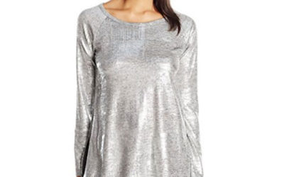 Silver Top by Karen Kane Women's Stretch Hi-Lo Raglan Sleeve Top