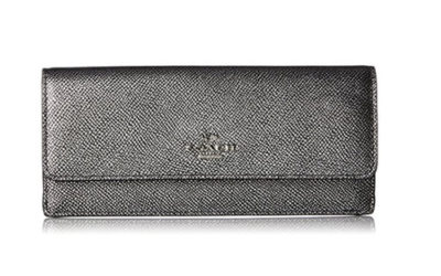Silver Wallet by Coach Embossed Soft Textured Leather 52331