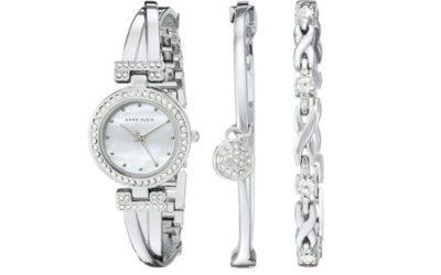 Silver Watch Set by Anne Klein Women's Swarovski Crystal-Accented Bangle Watch and Bracelet Set
