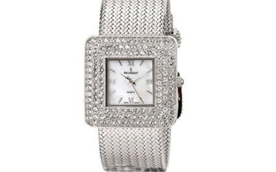 Silver Watch by Peugeot Women's Weave Bracelet with Square Crystal Bezel and Mother of Pearl