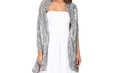 Silver Wrap by Betsey Johnson Tulle with Sequin Scallop Pattern