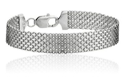 Sterling Silver Bracelet 12mm Italian Mesh