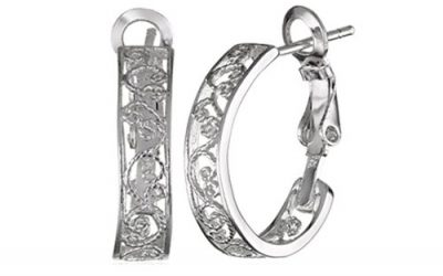 Sterling Silver Earrings Filigree Hoop