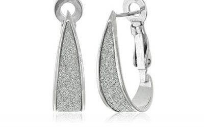 Sterling Silver Earrings Glitter J-Hoop