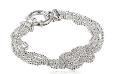 Silver Jewelry- Sterling Silver Mesh Love Knot Bracelet, 7.5″