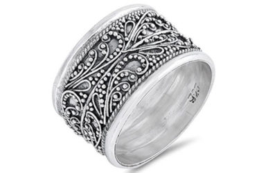 Silver Ring Handmade Wide Vintage Filigree Bali Bead Sterling