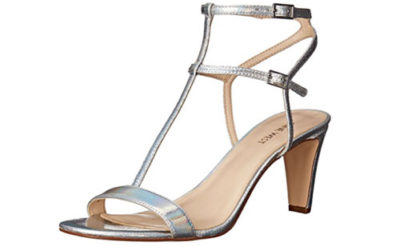 Silver Shoes by Nine West Women's Dacey Metallic Heeled Sandal
