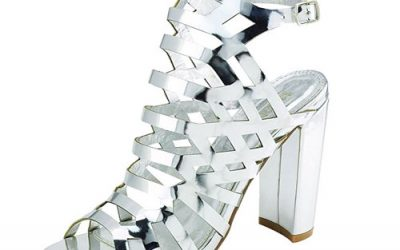Silver Caged Cutout Gladiator Stacked Platform Sandal By Bella Marie