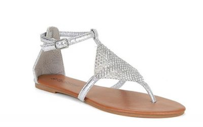 Silver Chainmail T-Strap Sandals by Twisted