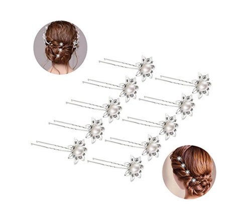 Silver Hairpins by ROSENICE Flowers Pearls and Rhinestones