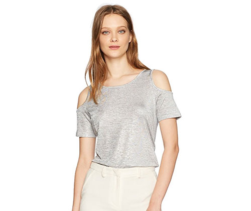 Silver Metallic Cold Shoulder Top by Calvin Klein