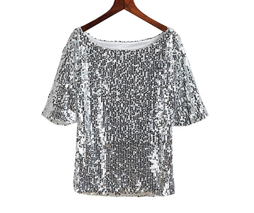 Silver Sequin T-Shirt by TR