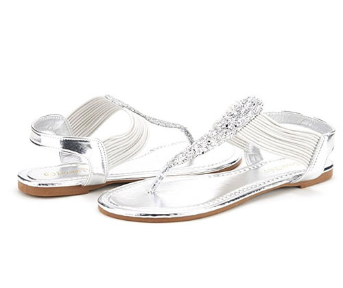 Sparkly Thong Sandals by Dream Pairs
