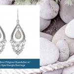 Sterling Silver Bali Filigree Chandelier Design w%2F White Opal Dangle Earrings