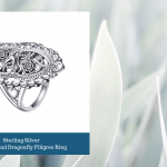 Sterling Silver Flowers and Dragonfly Filigree Ring